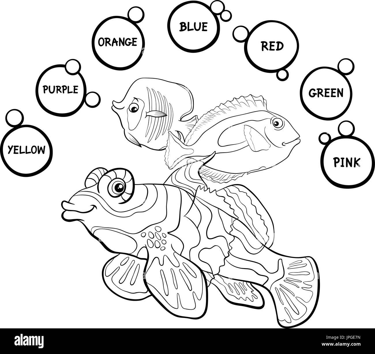 Ilustración caricatura en blanco y negro de Colores básicos ...