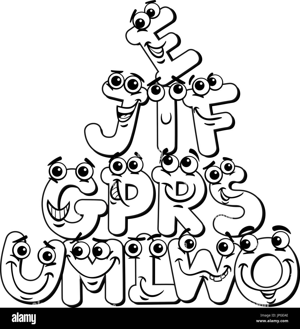 Ilustración caricatura en blanco y negro de divertidos personajes