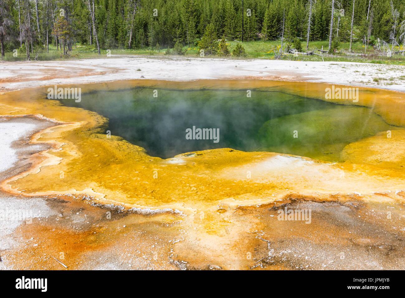 Emerald Pool termas en la cuenca de arena negra en el Parque Nacional Yellowstone, Wyoming. Foto de stock