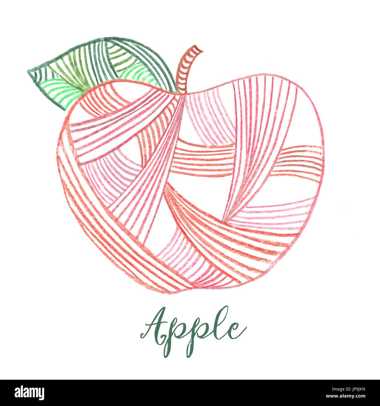 Manzana roja dibujada a mano con líneas Imagen De Stock
