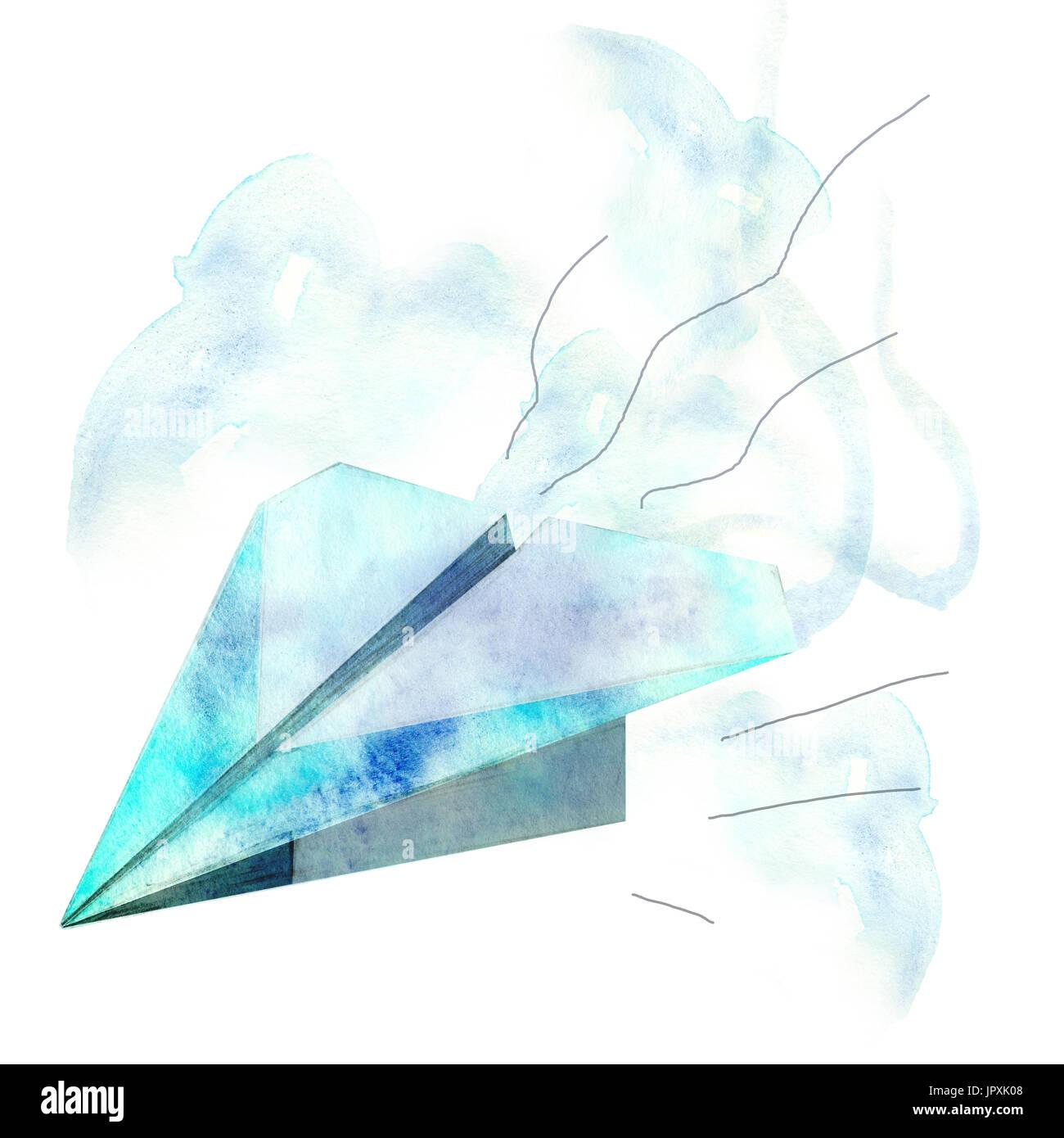 Acuarela dibujada a mano avión de papel Foto de stock