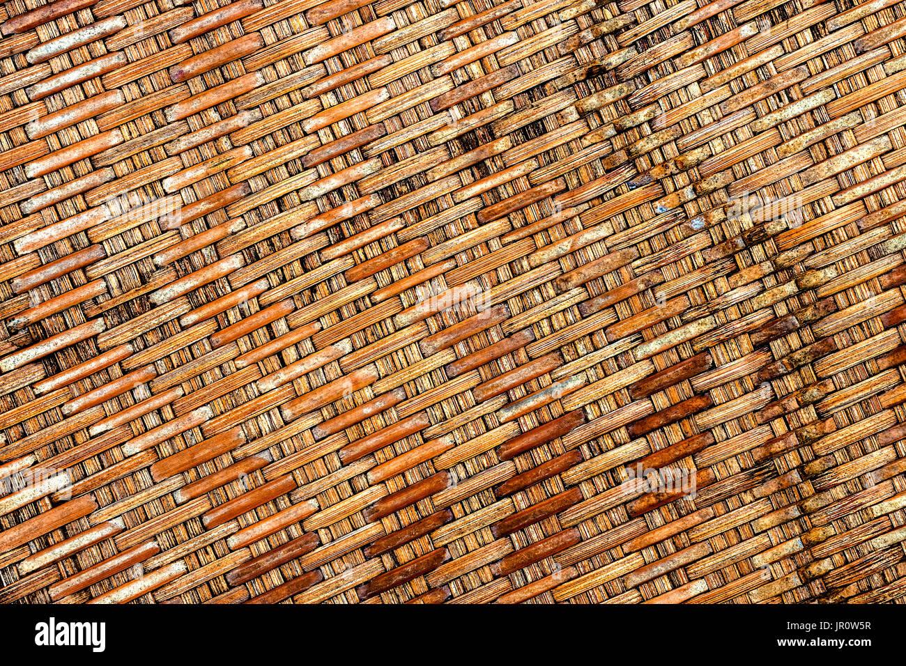 Antecedentes de bambú artesanía entrelazado con vista superior closeup Imagen De Stock