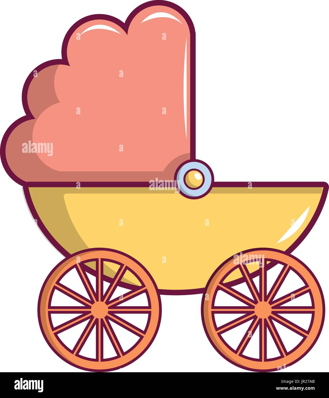 Icono de cochecito de bebé, estilo de dibujos animados