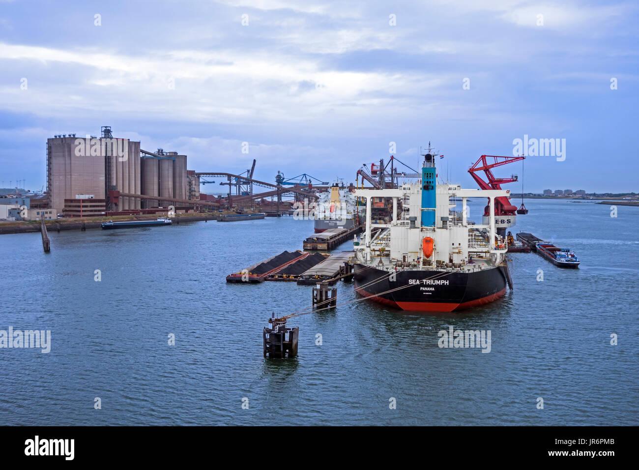 Triunfo de mar, granelero desde Panamá atracó en el puerto de Rotterdam, Países Bajos Imagen De Stock