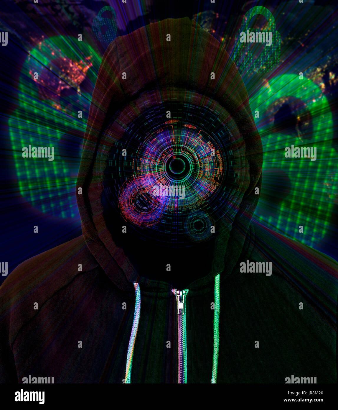 Hacker vistiendo una capucha con un aumento superior negro Pantalla HUD con candados y código binario en el fondo Imagen De Stock