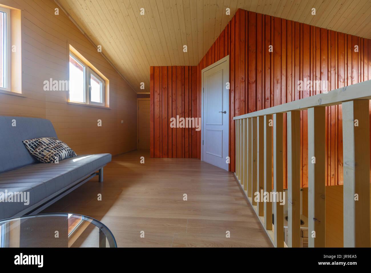 Sala De Estar En Una Casa Ecológica De Madera Suelo De