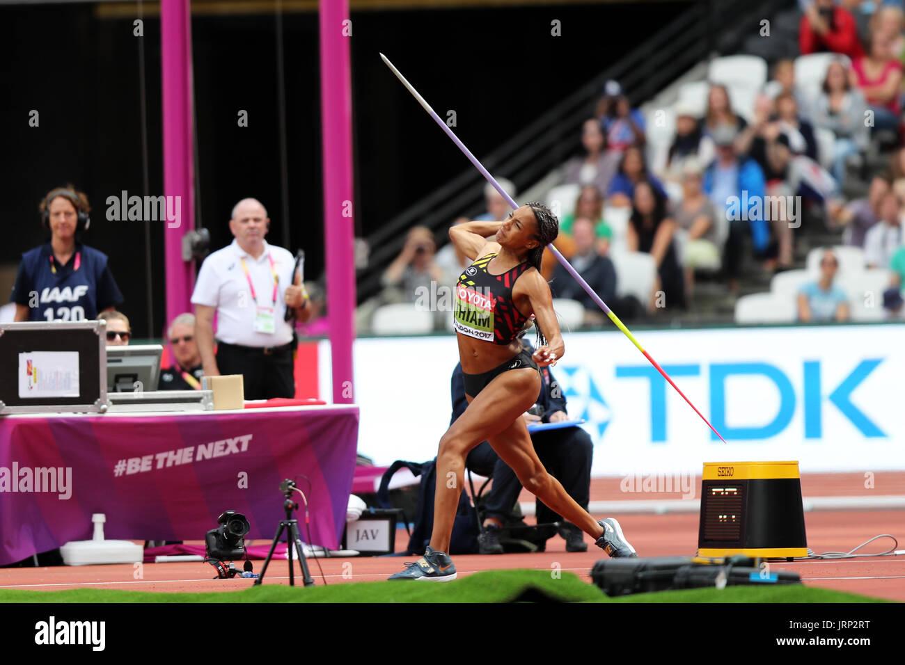 Londres, Reino Unido. 6 de agosto de 2017. Nafissatou THIAM de Bélgica compitiendo en el Heptathlon Javelin throw en el 2017, Campeonatos Mundiales de la IAAF, Queen Elizabeth Olympic Park, Stratford, Londres, Reino Unido. Crédito: Simon Balson/Alamy Live News Foto de stock