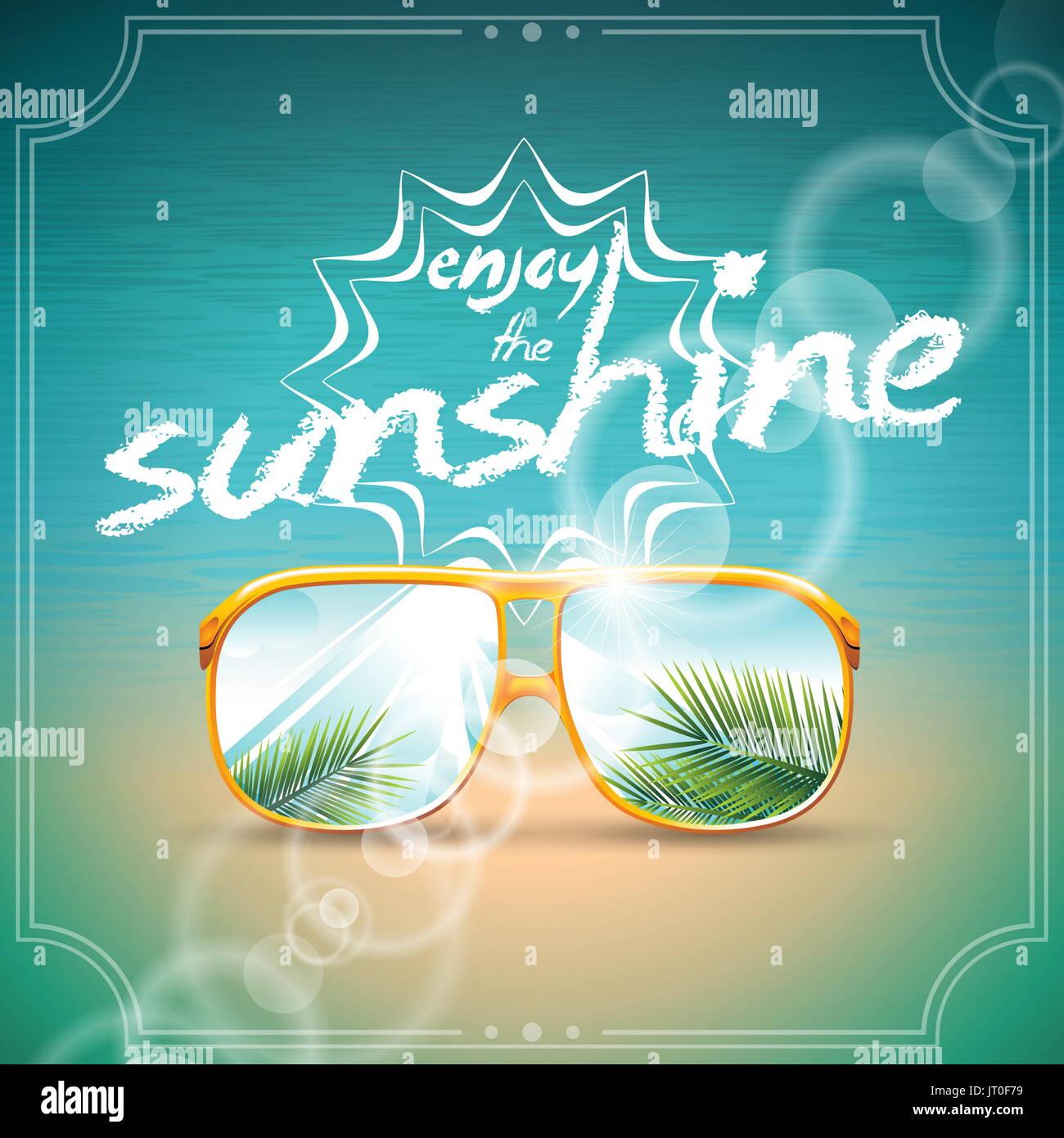 Vector Diseño de vacaciones de verano con gafas de sol sobre el mar azul de fondo. Eps10 ilustración. Imagen De Stock