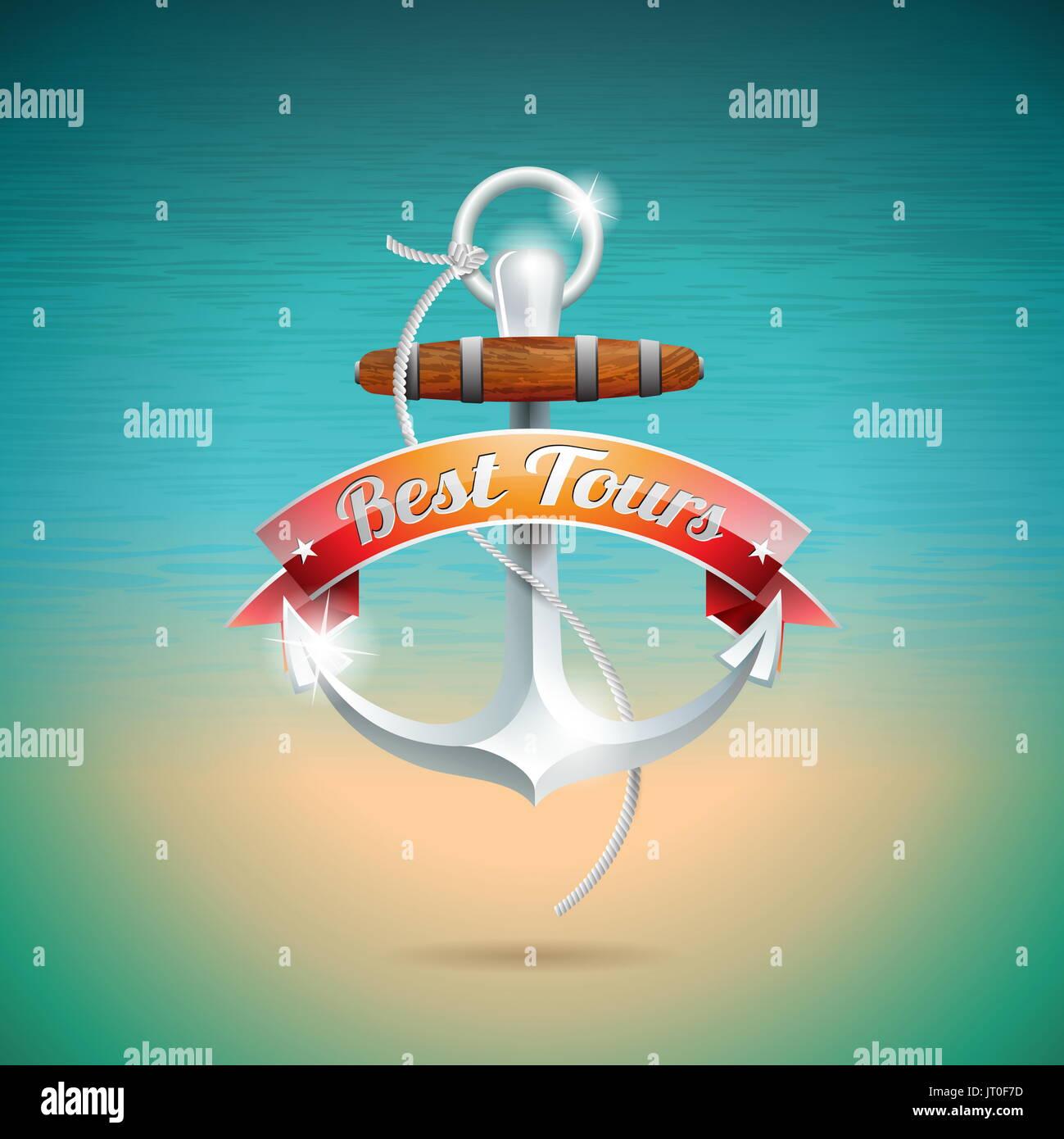 Vector Diseño de vacaciones de verano con el anclaje en el mar azul de fondo. Eps10 ilustración. Imagen De Stock