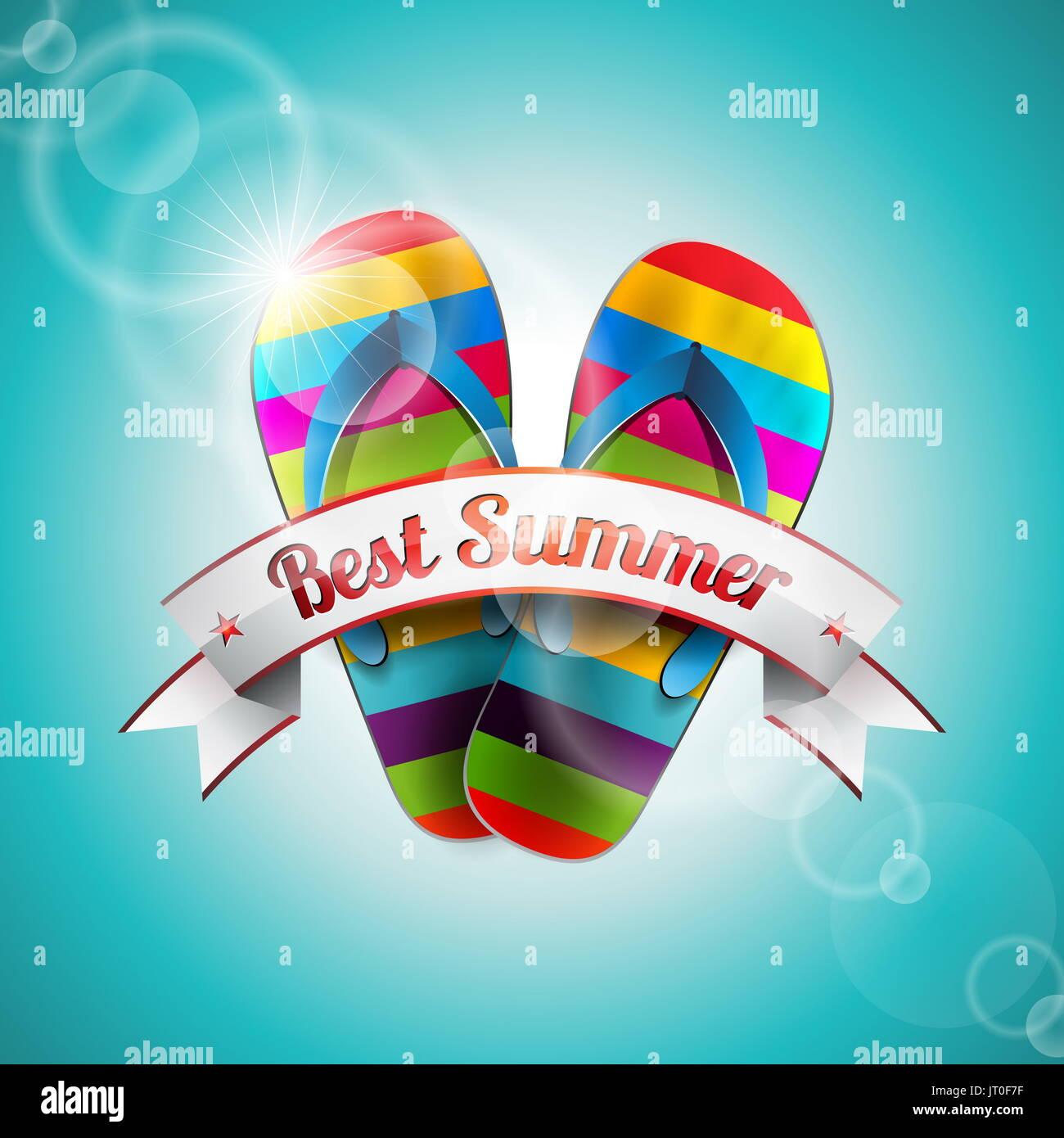 Vector Diseño de vacaciones de verano con la zapatilla y la cinta sobre el mar azul de fondo. Eps10 ilustración. Imagen De Stock
