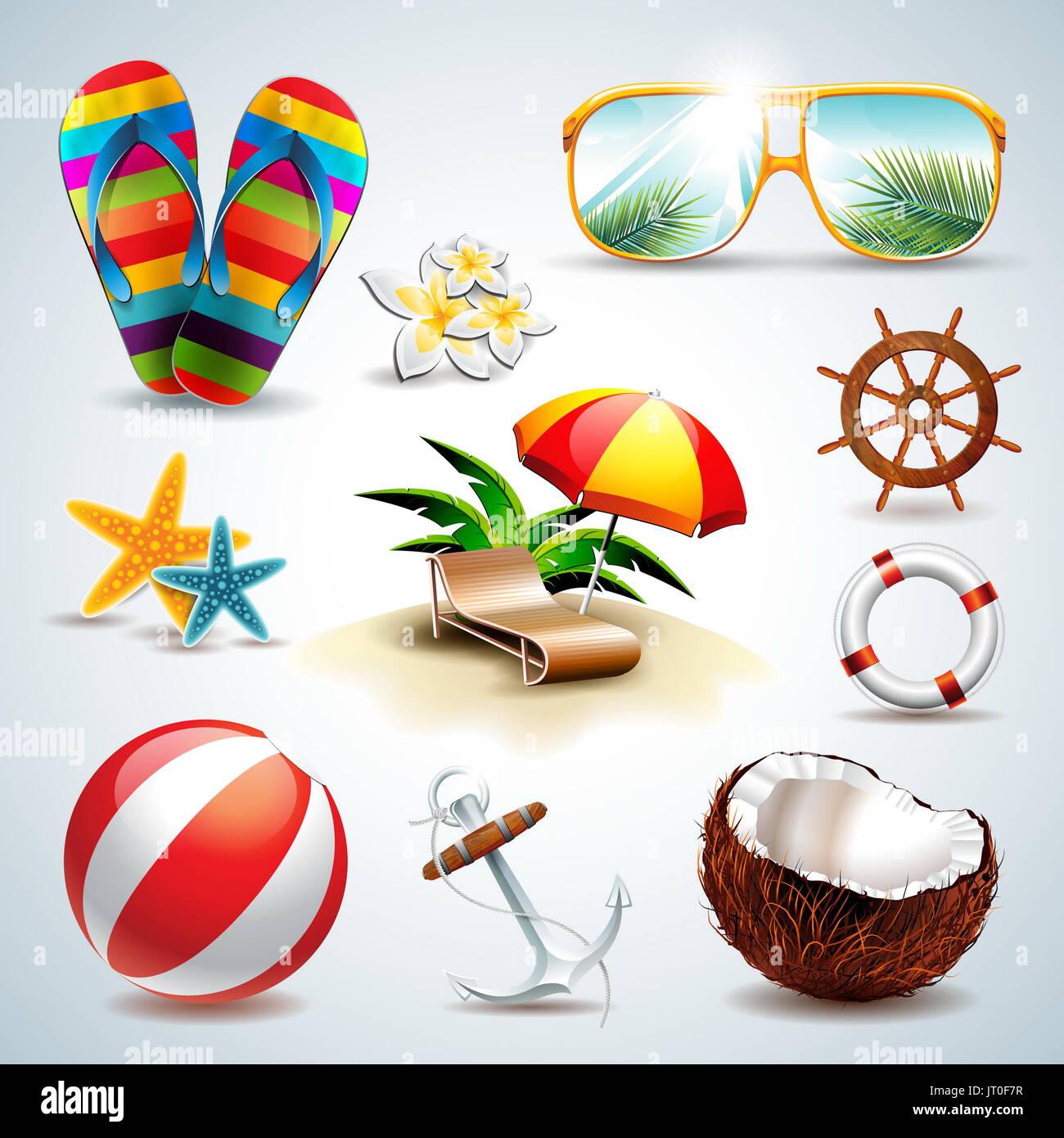 Vacaciones de Verano conjunto de iconos vectoriales sobre fondo claro. Eps10 ilustración. Imagen De Stock