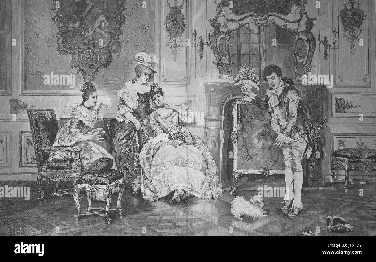 Un tímido pretendiente stands con un ramo de flores en la parte delantera de su amada, amante, amigas y un perrito, Digital mejora la reproducción de una imagen publicada entre 1880 - 1885 Imagen De Stock