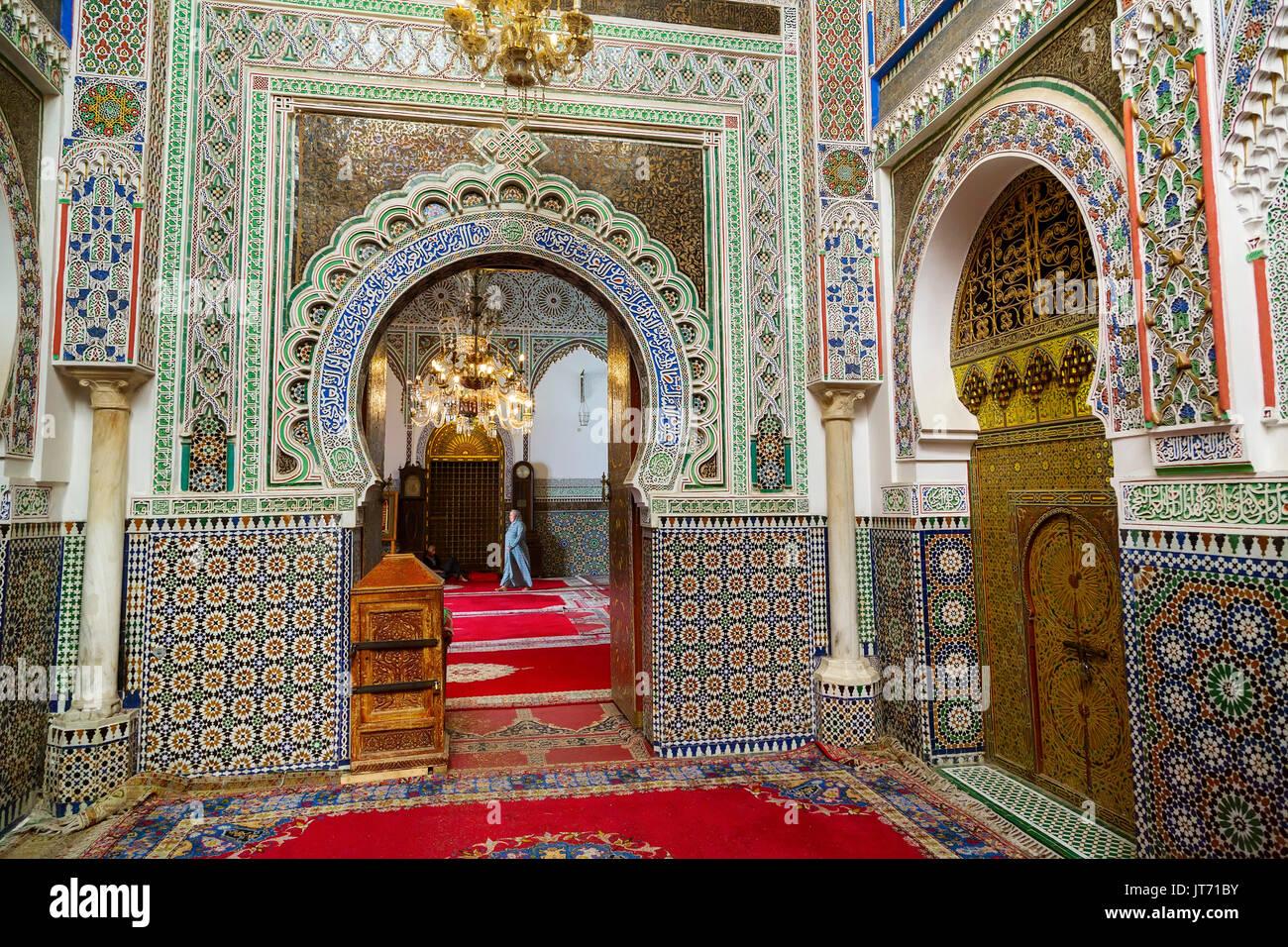 Moulay Idriss II de la mezquita. Souk Medina de Fez, Fes el Bali. Marruecos, Magreb, África del Norte Imagen De Stock