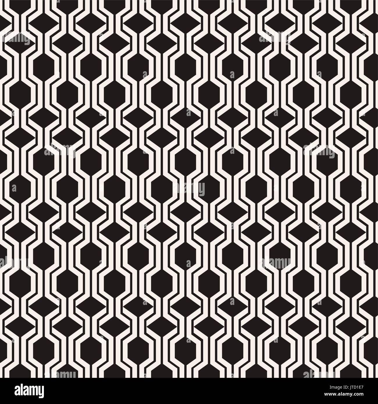 Abstract vector patrón sin fisuras con hexágonos y rombos. Blanco y negro geométricas infinitas textura puede ser Ilustración del Vector