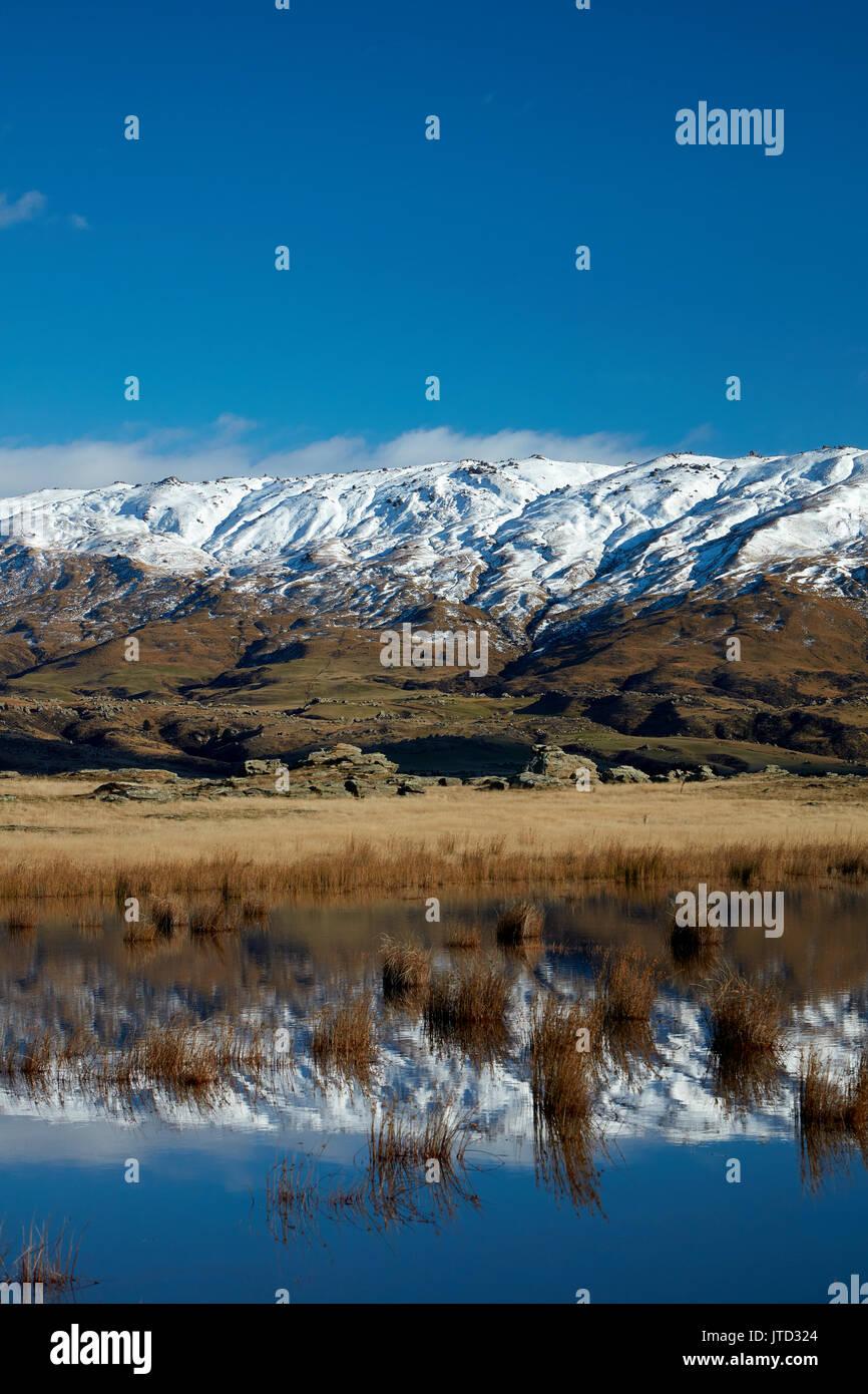Granja estanque y roca y Pilar Gama, Sutton, cerca de Middlemarch, Strath Taieri, Otago, Isla del Sur, Nueva Zelanda Imagen De Stock