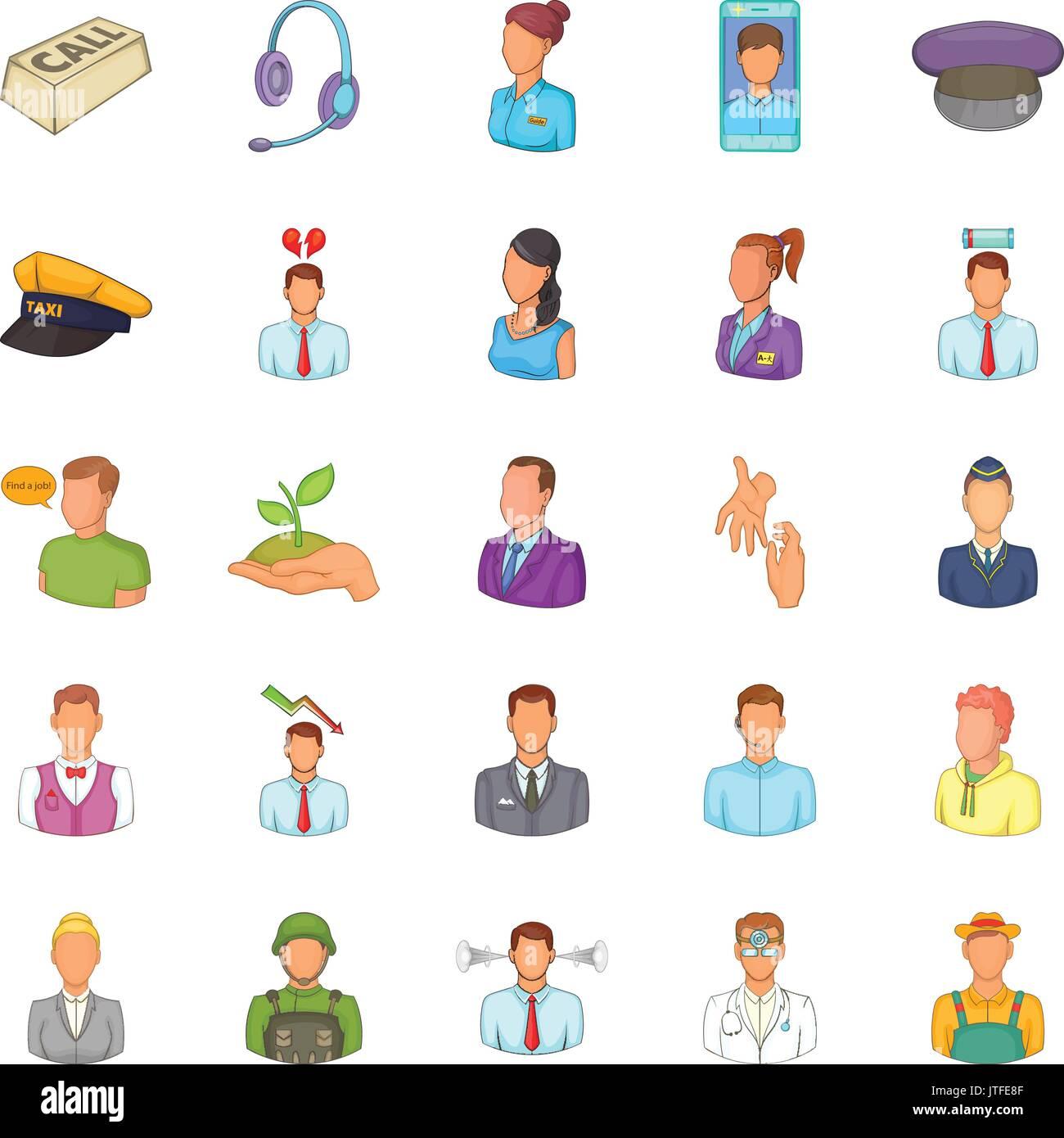 Iconos De Recursos Humanos Del Estilo De Dibujos Animados