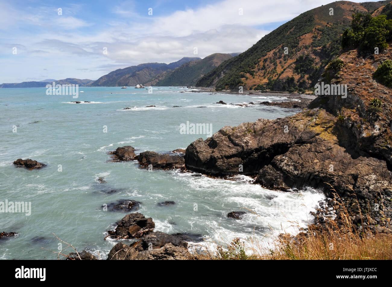 La costa rocosa de Kaikoura, mirando al sur hacia Christchurch. Una popular colonia de focas y ballenas como destino turístico en la costa oriental de la Foto de stock