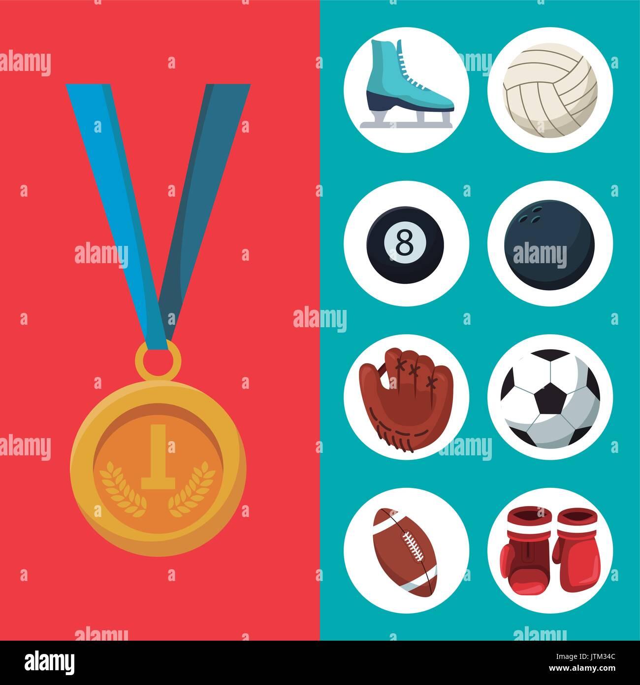 Fondo de color con medalla de oro el primer lugar y estandarte de establecer elementos deportes Imagen De Stock