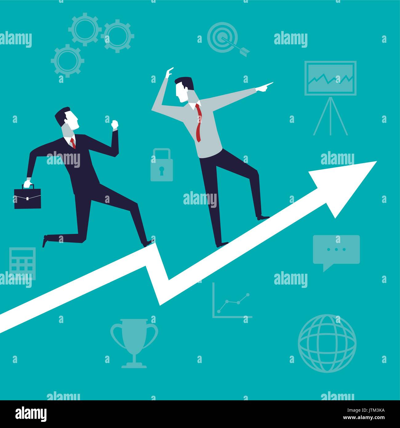 Color de fondo con el ejecutivo a los hombres el crecimiento empresarial Imagen De Stock