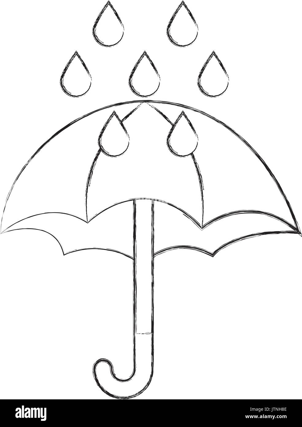 Lindo Paraguas Con Gotas De Lluvia Imagen Vector De Stock Alamy