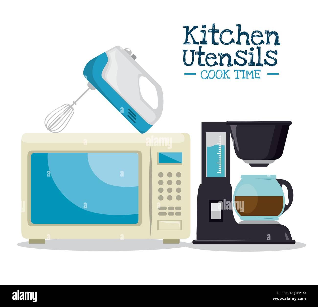 El tiempo de cocción concepto utensilios de cocina ilustración ...