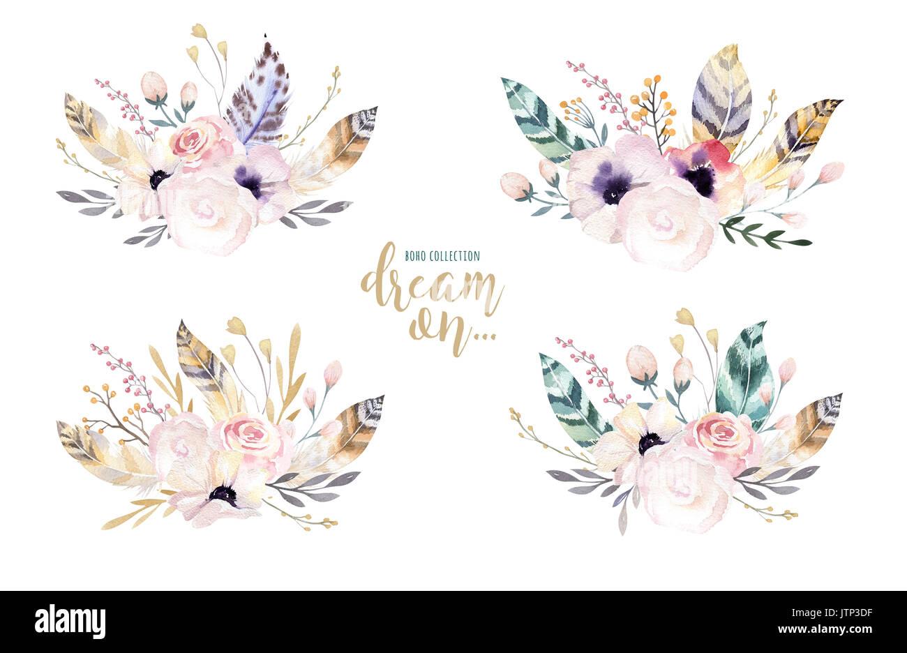 Dibujo A Mano Alzada Acuarela Aislados Ilustración Floral