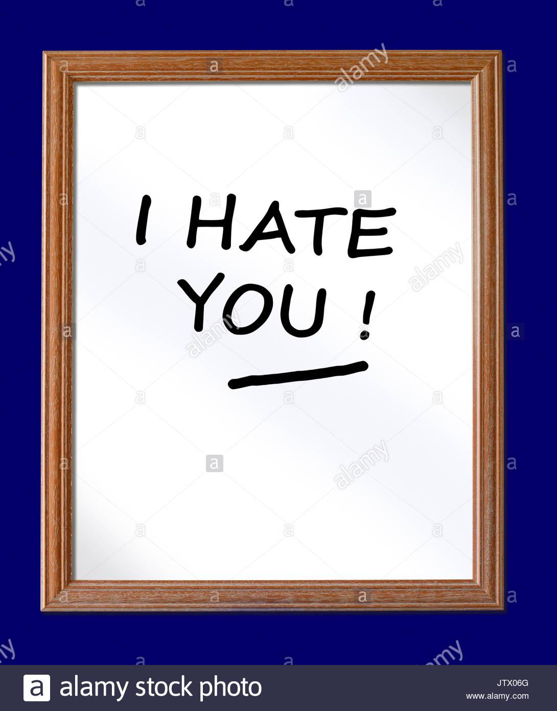 Te odio escrito en una pizarra, Blandford, Dorset, Inglaterra, Reino Unido. Imagen De Stock