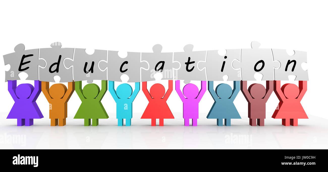La celebración de palabra la educación dividida en diferentes piezas de un rompecabezas. Conceptuales de importancia de la educación, el conocimiento y el crecimiento personal. Imagen De Stock