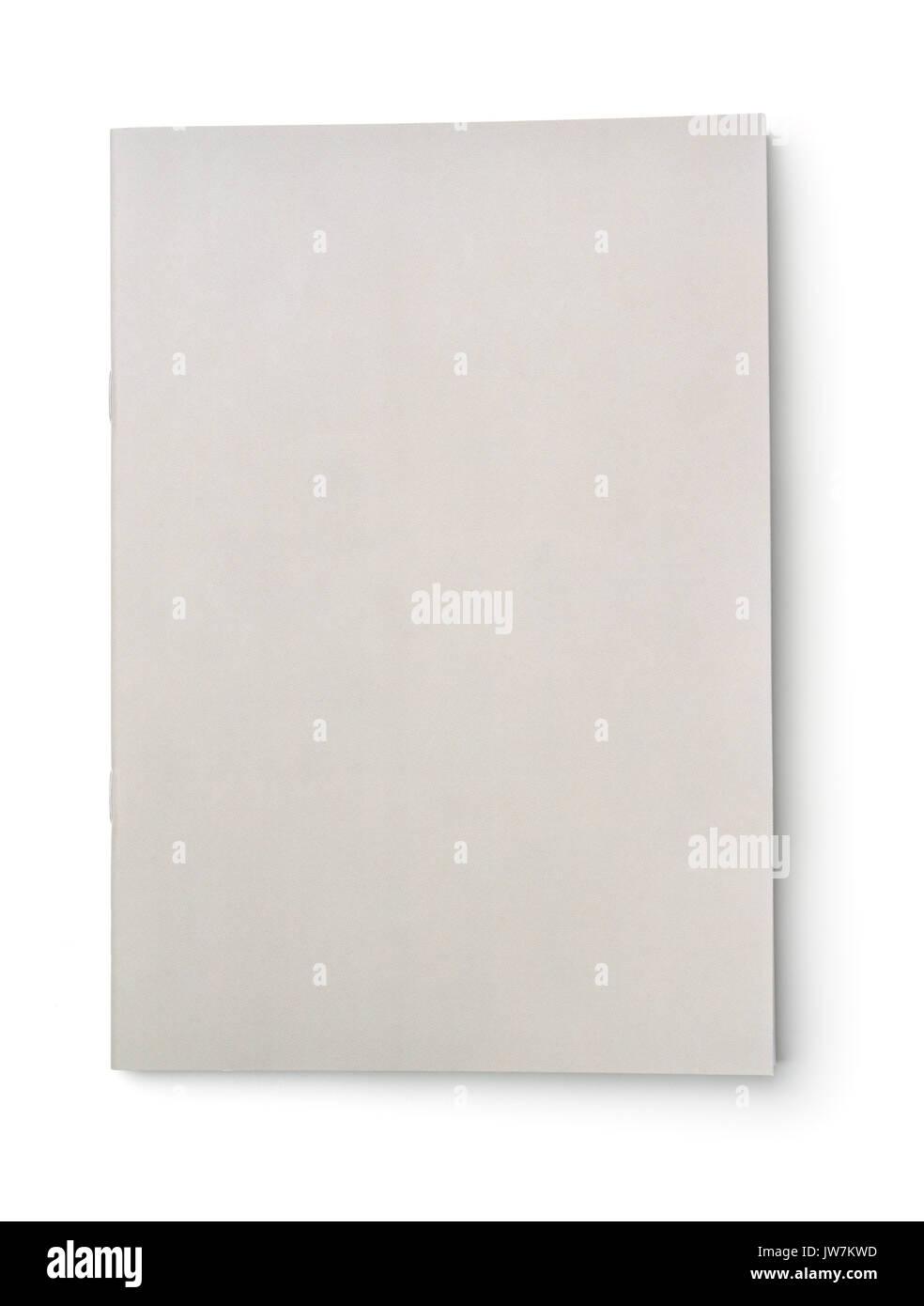 Folleto cubierta gris en blanco aislado en blanco Foto de stock
