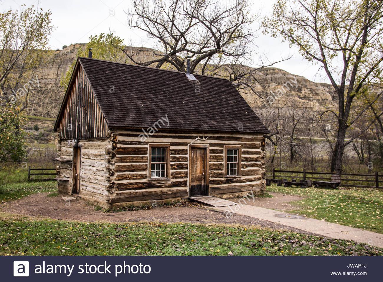 El registro original cabaña de caza amada por Theodore Roosevelt. Imagen De Stock