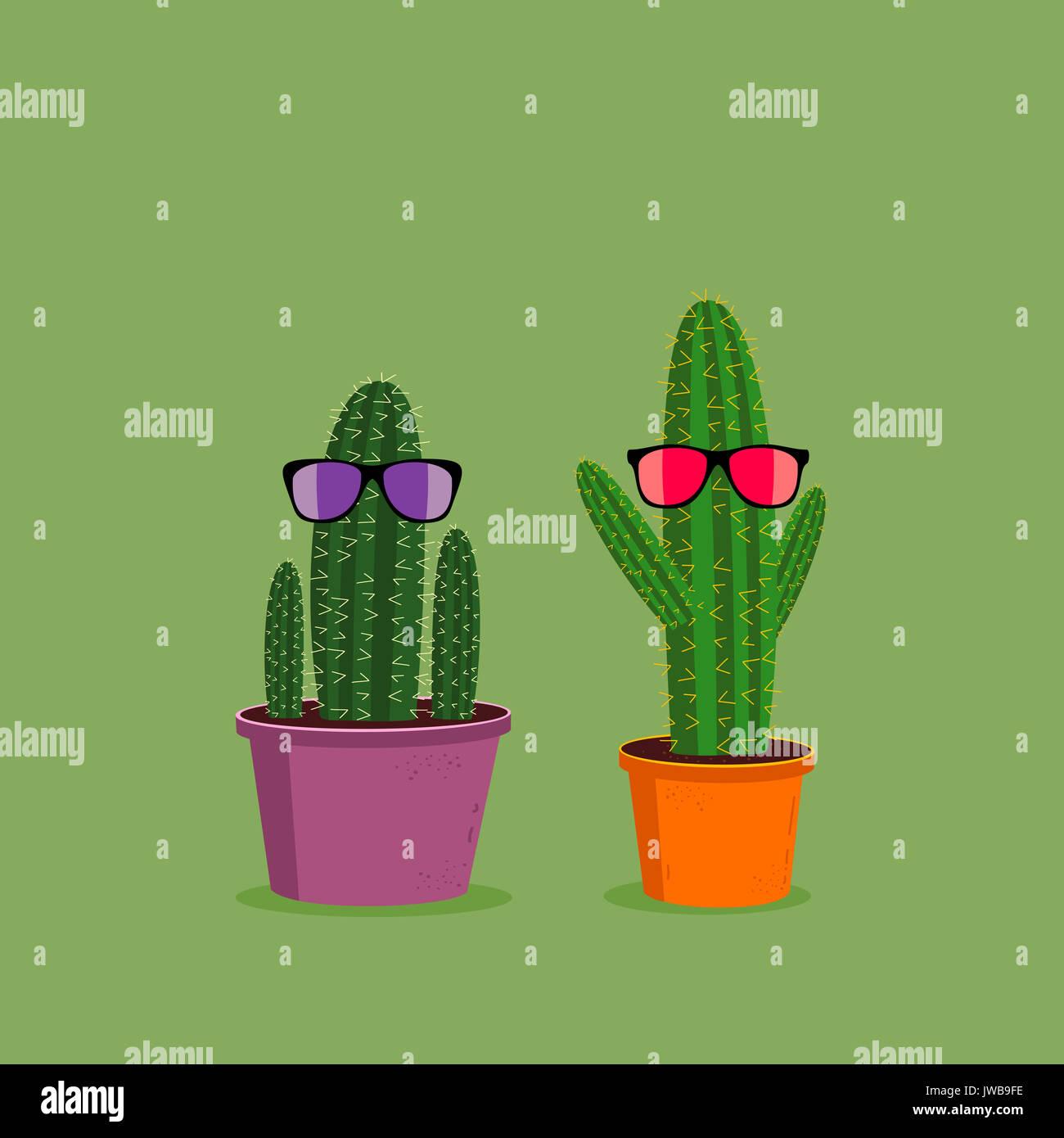 Sol Verde Con Fondo Gafas Sobre Dos Divertida Cactus De Caricatura PXiukOZ