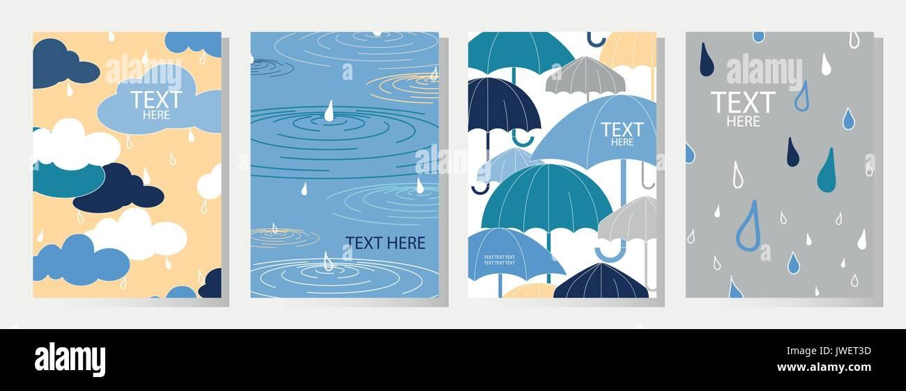 Juego De 4 Feliz Día De Lluvia Cubre El Diseño Lindo Poster