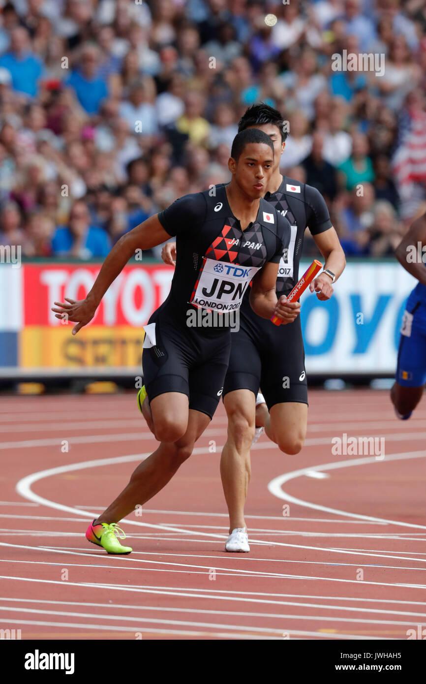 Londres, Reino Unido. 12 Aug, 2017. Aska Cambridge (JPN) : Campeonatos Mundiales de Atletismo de la IAAF de Londres 2017 hombres 4100m relevos de calor en el estadio de Londres en Londres, Reino Unido. Crédito: AFLO/Alamy Live News Foto de stock