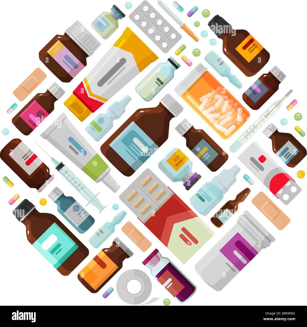 Concepto de medicina. Medicamentos, drogas, botellas y píldoras iconos. Ilustración vectorial Imagen De Stock