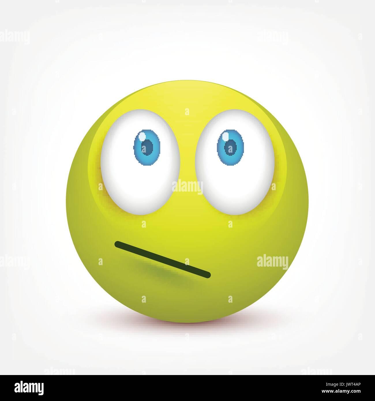 Smiley Con Ojos Azulesemoticono Greenface Con Emociones La