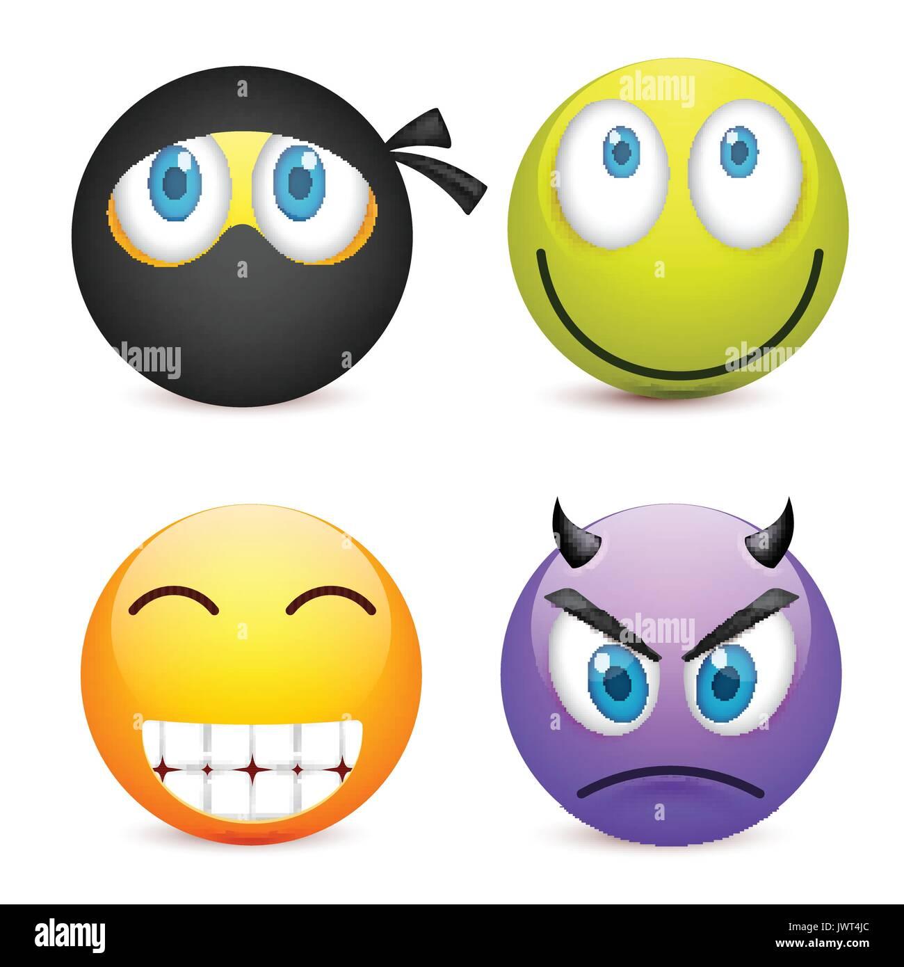 Smiley Con Ojos Azulesjuego De Emoticonos Cara Amarilla Con Las