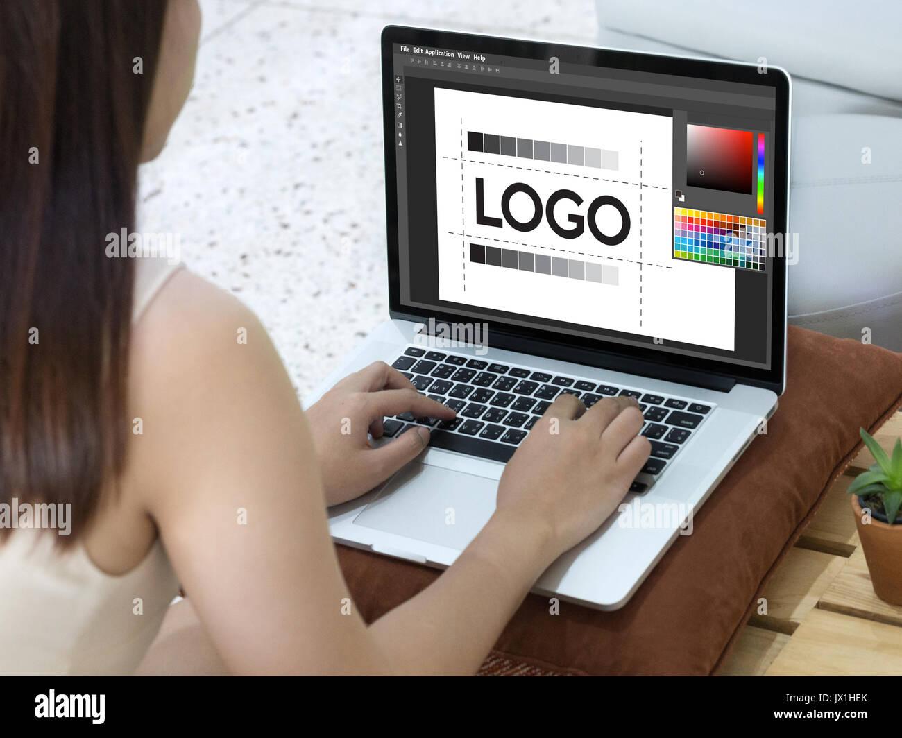 Diseño de la marca creative creatividad trabajo diseñador gráfico sketch diseño de logotipo El concepto empresarial Foto de stock