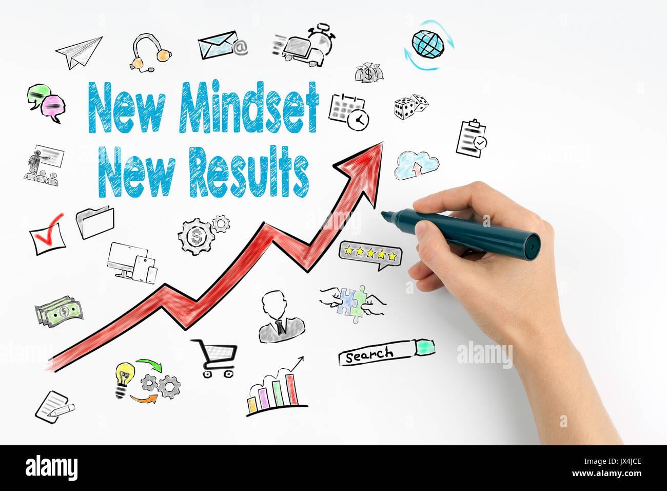 Nueva Mentalidad nuevo concepto de resultados. mano con marcador escrito. Imagen De Stock