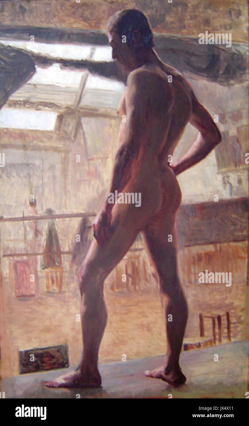 Eliseu Visconti Nu masculino de costas c 1894 Imagen De Stock