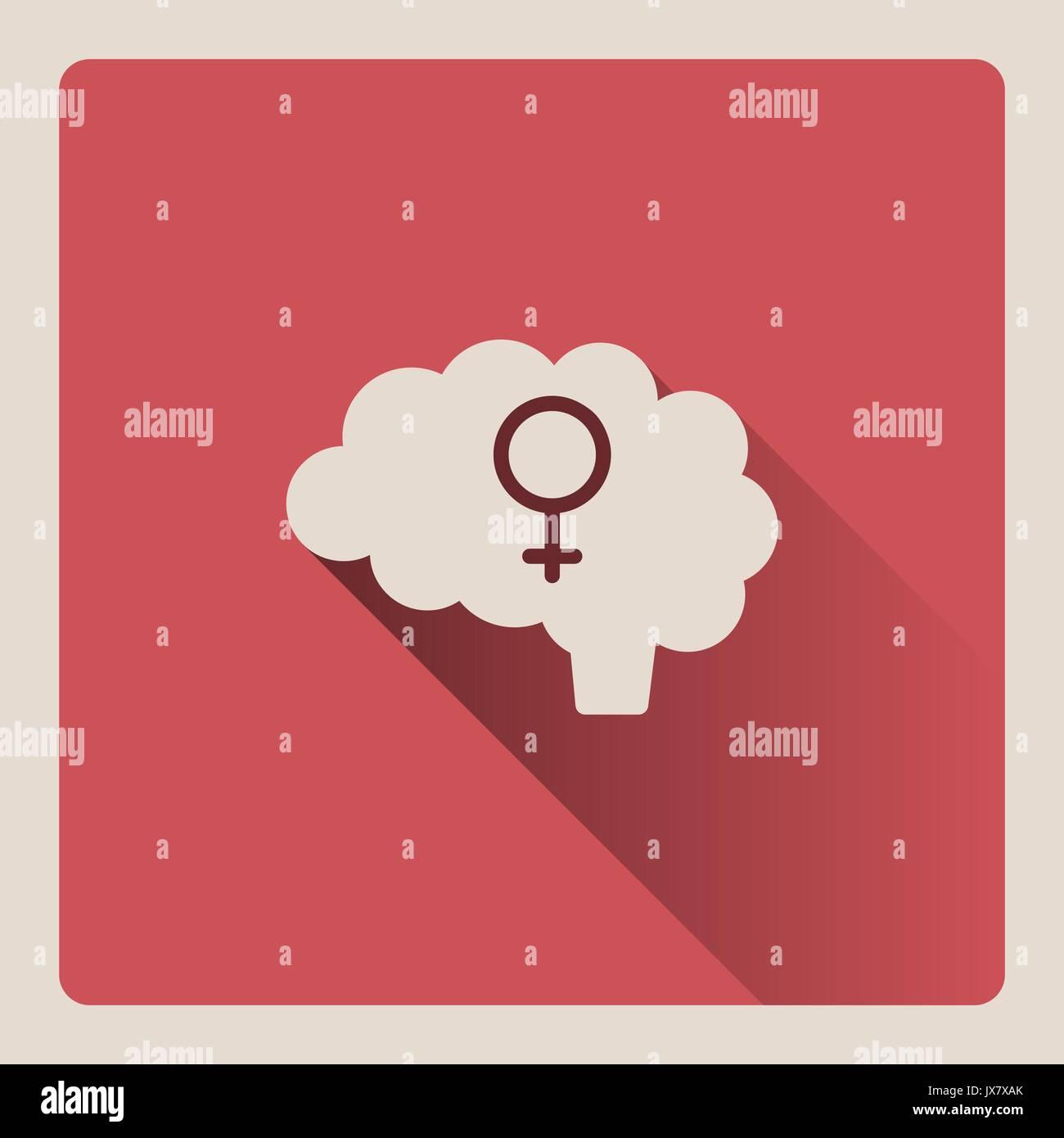 Ilustración cerebral femenina en la plaza roja con la sombra de fondo Imagen De Stock