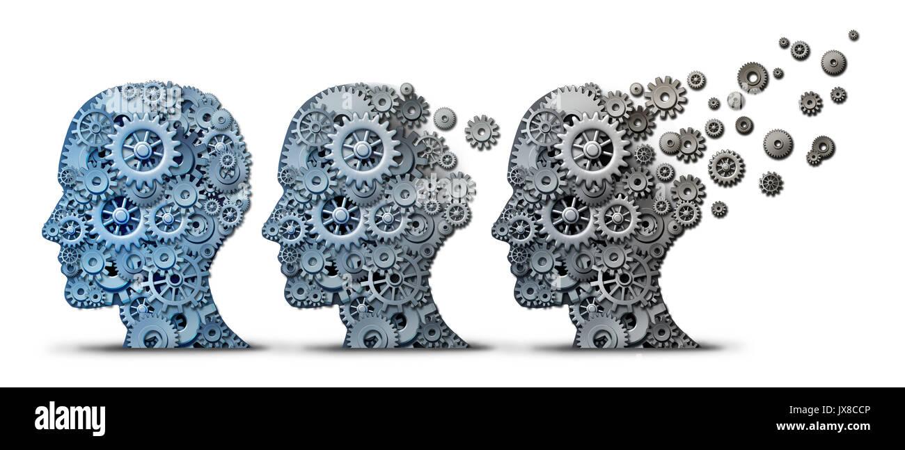 La demencia de Alzheimer enfermedad cerebral como una pérdida de la memoria y la transformación mental o mente neurología concepto de salud mental como una cabeza humana. Imagen De Stock