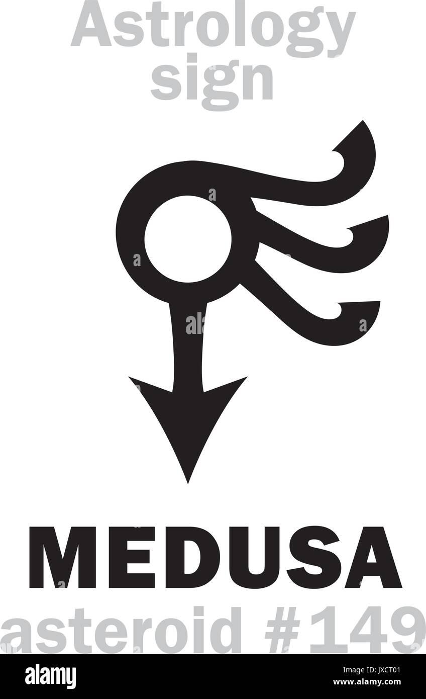 La astrología alfabeto: Medusa, el asteroide #149. Signo de caracteres jeroglíficos (Un solo símbolo). Ilustración del Vector