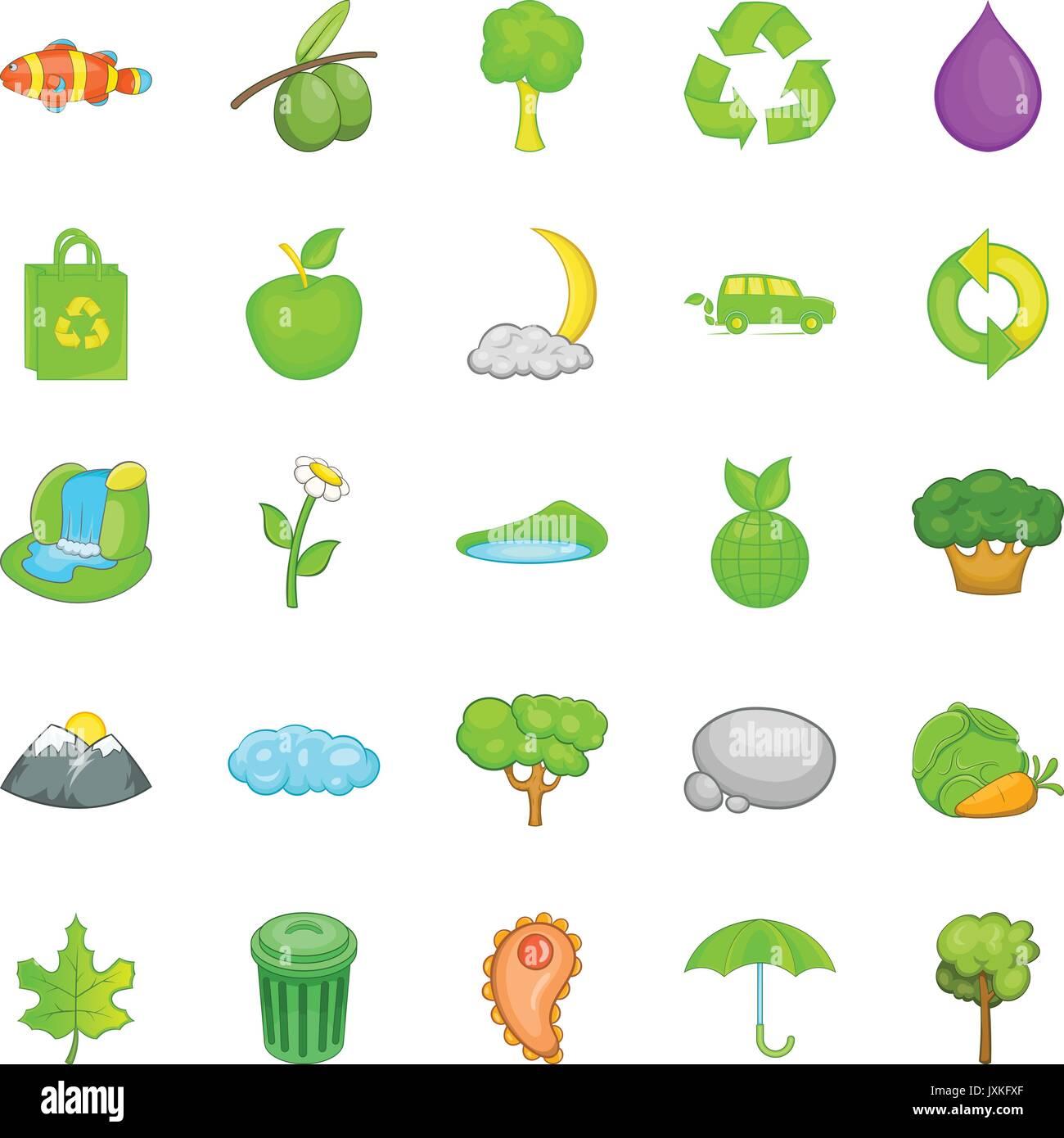 Contaminación Ambiental Conjunto De Iconos De Estilo De Dibujos