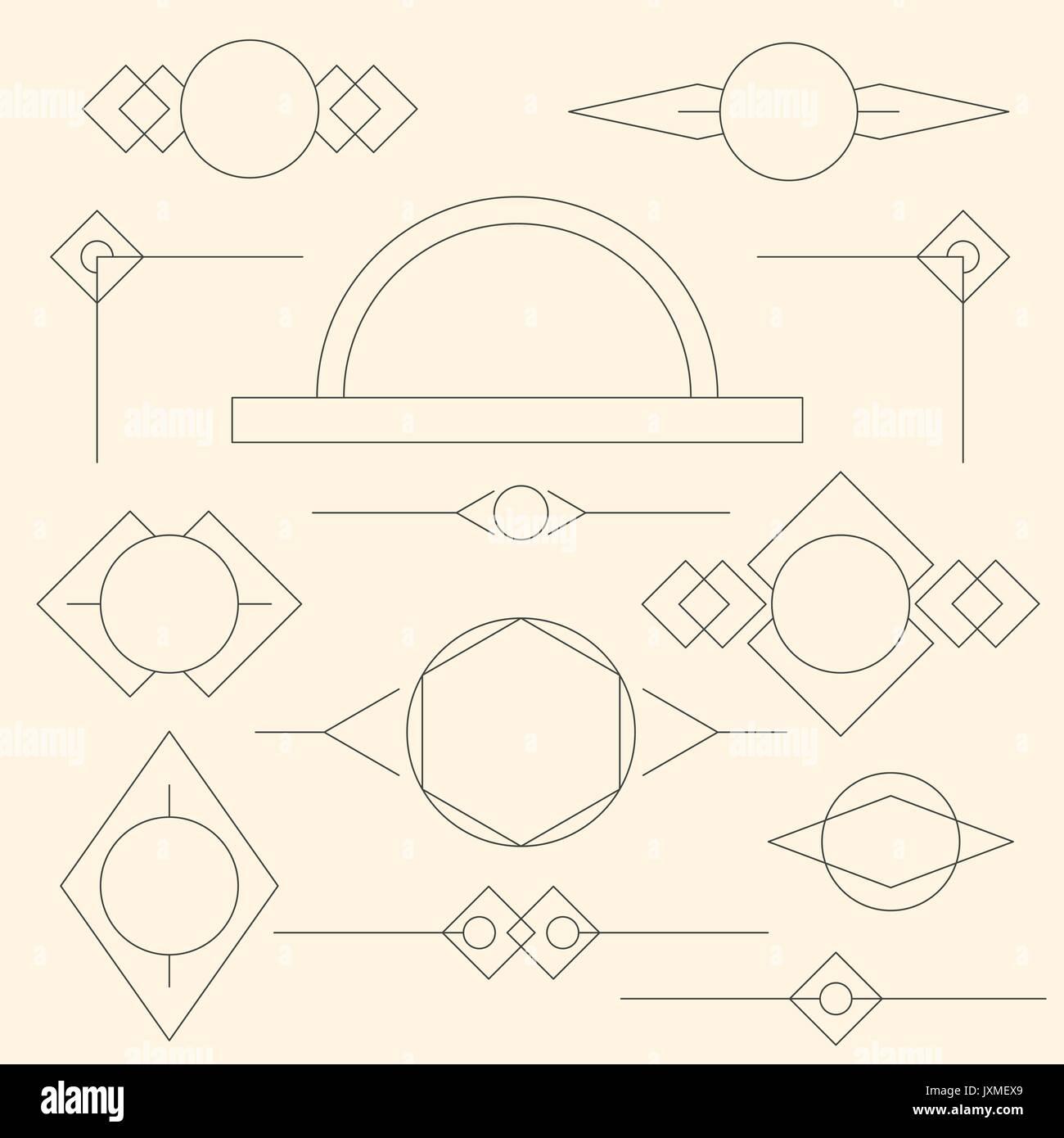 Conjunto de marcos estilizados gráficos lineales gris y bordes en ...