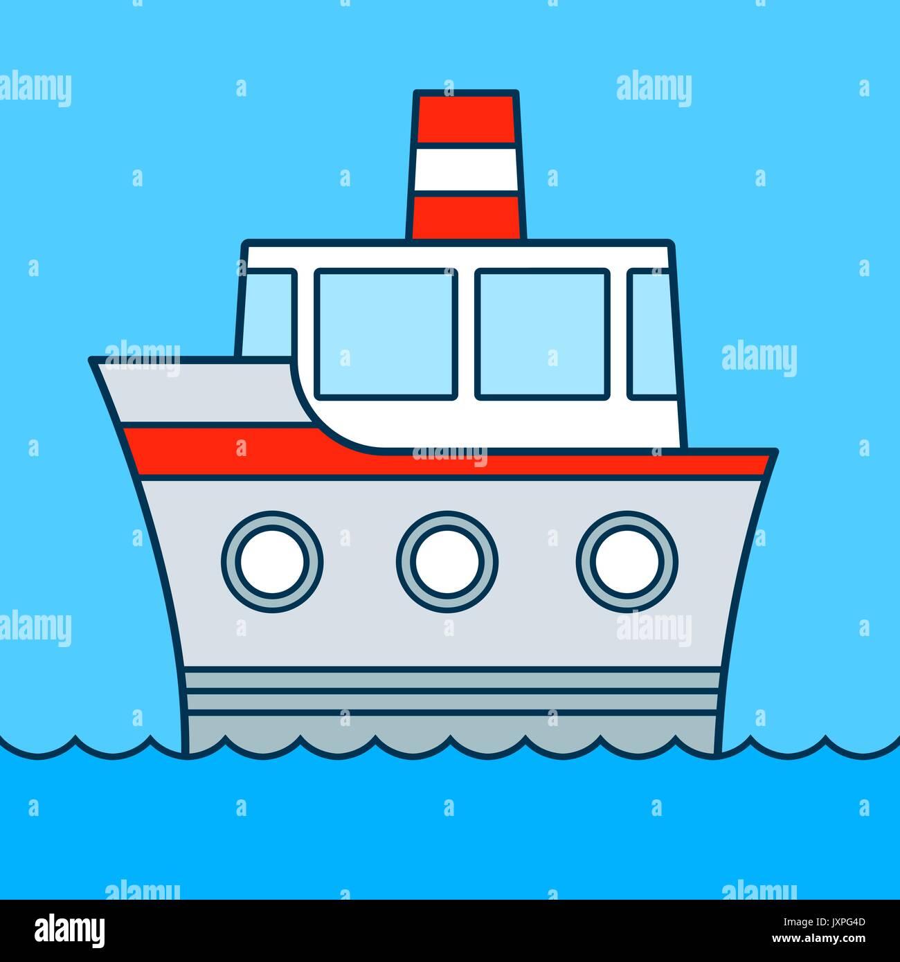 Caricatura Barco Crucero Sobre El Agua Con Tres Troneras Y Embudo