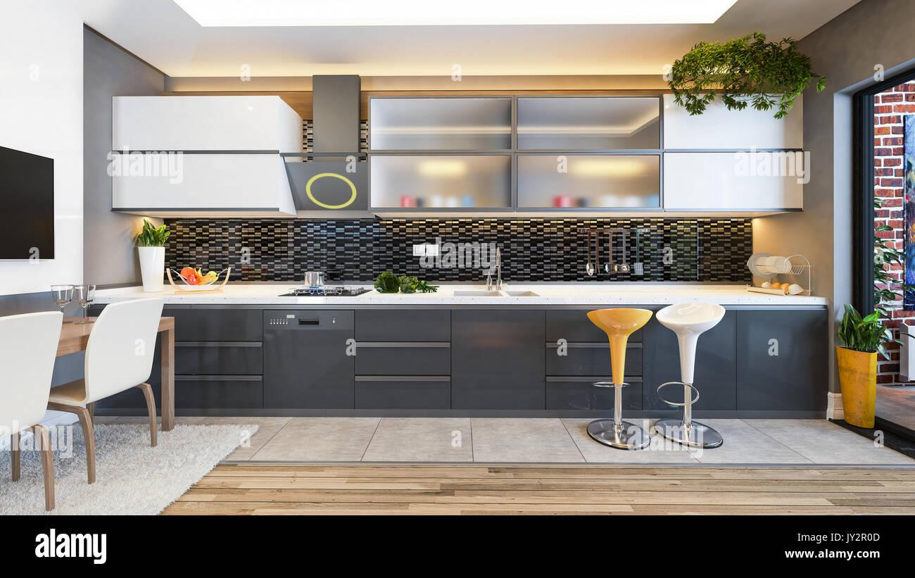Diseño de cocinas de cerámica negra con fruta fresca y ...
