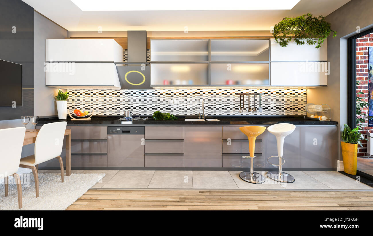 Diseño de cocinas color capuchino de cerámica en blanco y negro con ...