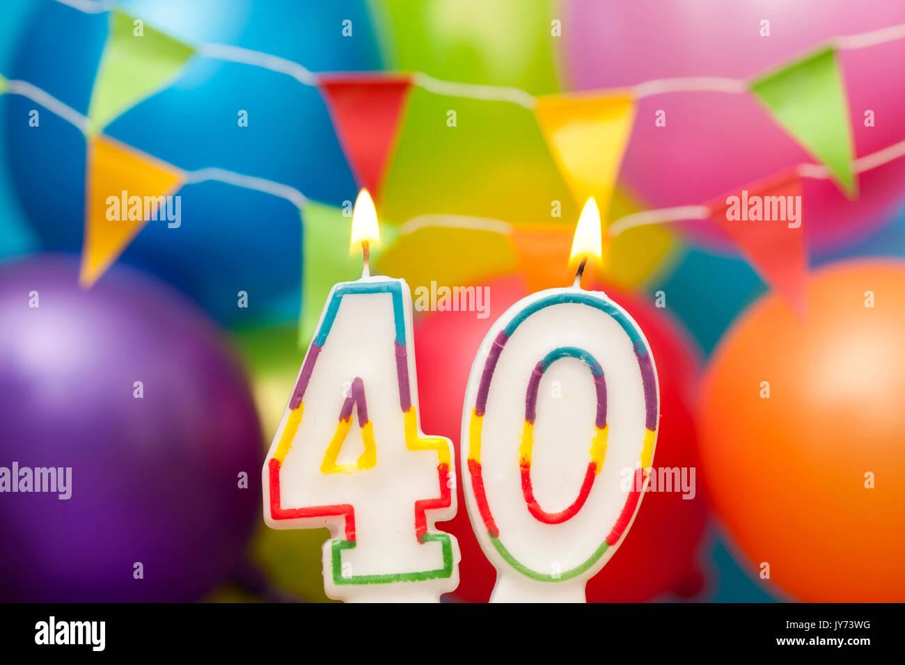 Imagenes De Cumpleanos Numero 40.Feliz Cumpleanos Numero 40 Velas De Celebracion Con