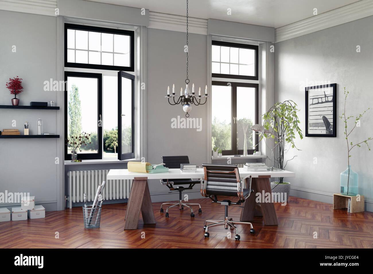 La moderna sala de estudio con mesa y sillones. Concepto 3D rendering Imagen De Stock