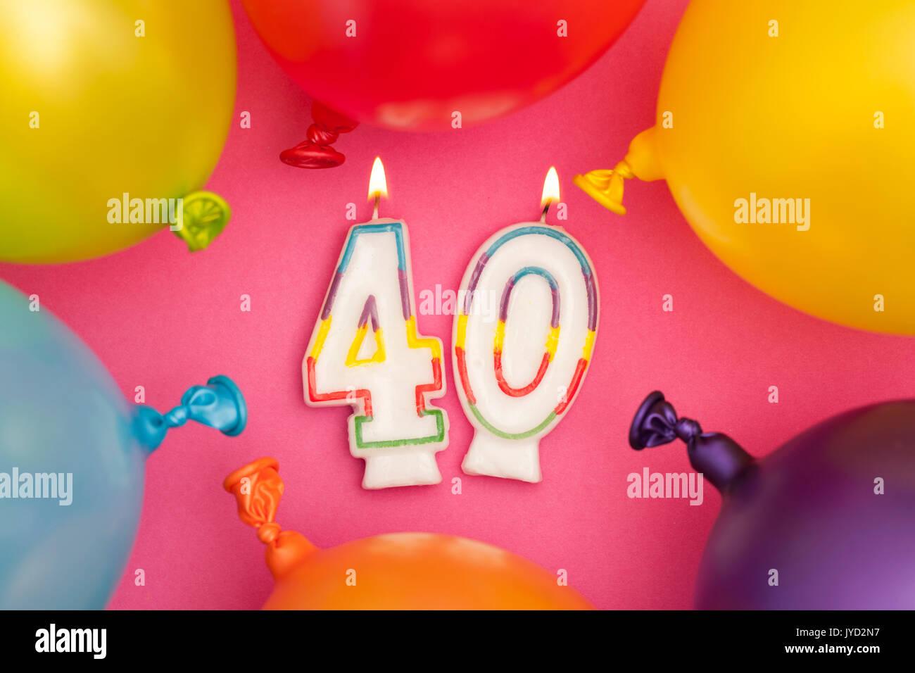 Imagenes De Cumpleanos Numero 40.Feliz Cumpleanos Numero 40 Celebracion Vela Con Globos De